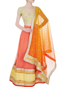 light-orange-yellow-embellished-lehenga-set