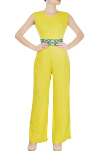 yellow-jumpsuit-with-printed-waistband