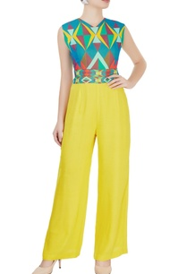 blue-yellow-printed-jumpsuit