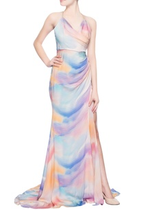 multi-colored-gown-with-a-slit
