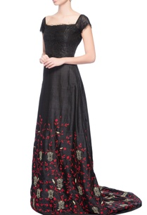 black-embroidered-gown-with-trail