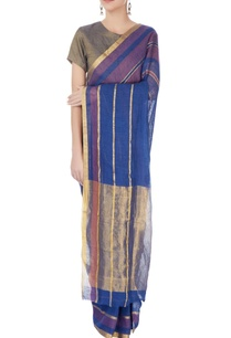 navy-blue-gold-striped-sari