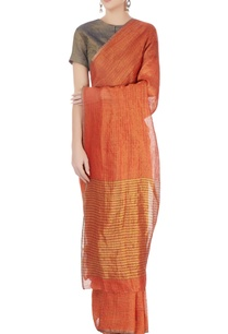 burnt-orange-striped-linen-sari