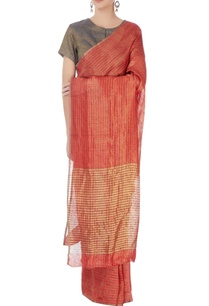 red-striped-linen-sari