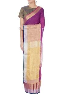 purple-linen-sari