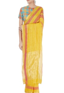 yellow-orange-striped-sari