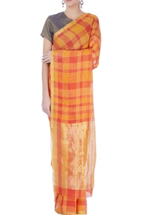 orange-red-linen-sari