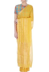 yellow-linen-sari