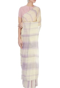 light-yellow-lavender-linen-sari