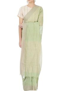 pista-green-linen-sari