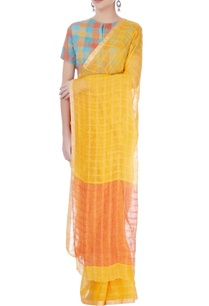 yellow-checkered-linen-sari