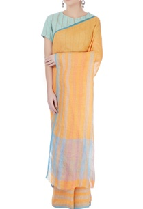 light-orange-striped-sari
