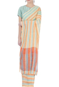 light-yellow-striped-sari