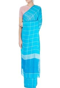 turquoise-blue-linen-sari