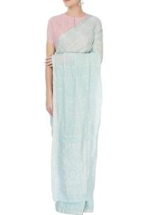 light-blue-checkered-sari