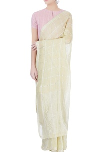 light-yellow-checkered-sari