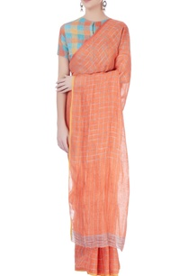 orange-checkered-linen-sari