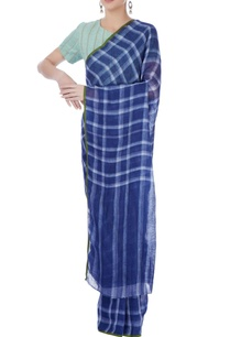navy-blue-checkered-linen-sari