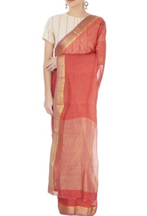 brick-red-linen-sari