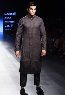 charcoal-grey-long-kurta