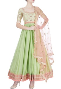 pista-green-peach-embroidered-anarkali-set