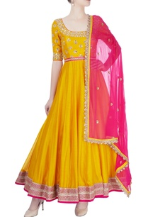 mustard-yellow-hot-pink-embroidered-anarkali-set