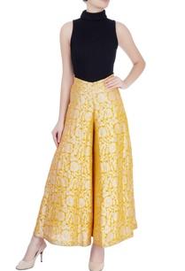 yellow-palazzo-pants-with-silver-zari-work