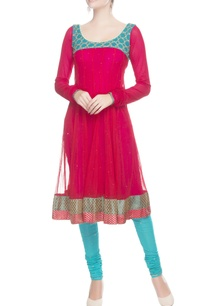 red-anarkali-set-with-sequin-work
