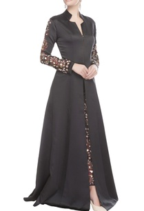 black-front-slit-kurta-with-embroidered-pant
