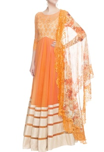 orange-anarkali-with-printed-dupatta