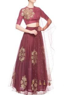 burgundy-gold-sequin-embroidered-lehenga