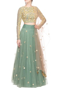 green-floral-embroidery-lehenga