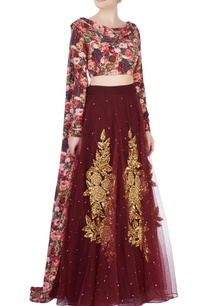 brown-lehenga-with-floral-blouse