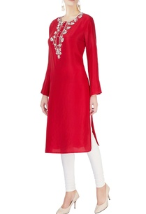 red-embellished-kurta