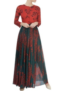 red-green-printed-dress-with-a-gathered-waist