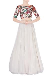 white-flared-lehenga-multicolored-blouse