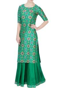green-embroidered-kurta-lehenga