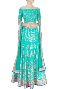 turquoise-blue-embellished-lehenga-set