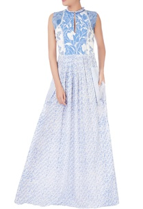white-blue-quilted-maxi-dress