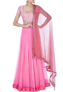 pink-floral-blouse-pleated-lehenga