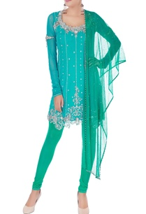 blue-sequin-embellished-kurta-set