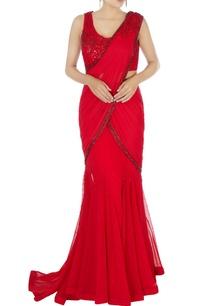 red-mermaid-style-sari