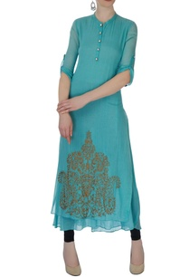 blue-double-layer-kurta