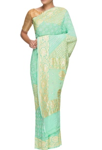 mint-green-hand-woven-bandhani-sari