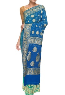 blue-green-bandhani-georgette-sari