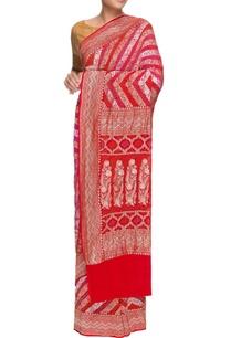 red-pink-banarasi-bandhani-sari