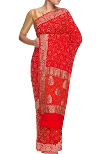 red-hand-woven-georgette-bandhani-sari
