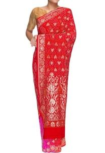 pink-red-banarasi-bandhani-sari