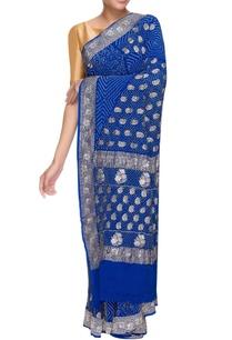 blue-georgette-bandhani-sari