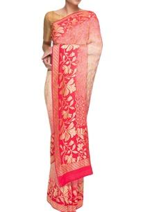 red-pink-georgette-bandhani-sari